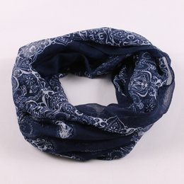 Wholesale air cape - Wholesale-2015 Fashion Hot sale High quality blue and white porcelain scarf fluid air conditioning sun cape dual silk Loop Scarf Snood