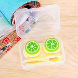 Canada 12Pcs / lot motif de fruits Cartoon Cute Lentilles de contact Boîtier en plastique Contacts Lens Box Travel Maquillage Beauté Outils Accessoires Offre
