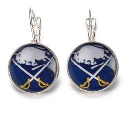 Wholesale Stud Earring Sports - 10Pairs Puck Sports Team Jewelry Time Gem Stud Drop Earrings NHL Buffalo Sabres Sport Fans Jewelry Earrings