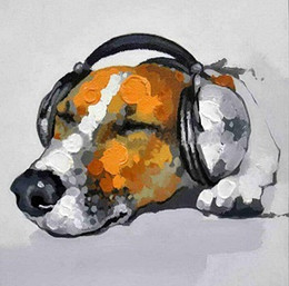 Wholesale Modern Music Paintings - Framed Music Dog,genuine Hand Painted Modern Wall Decor Abstract Animals Art Oil Painting Thick Canvas Multi Size Free Shipping A065