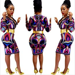 Wholesale Winter Packages - Autumn winter printed stitching dress sexy V neck high waist Package hip skirt Bodycon Mini Dress Clubwear Slim Pencil Dresses Leisure Women