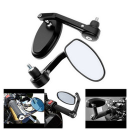 """Wholesale Motorcycle Handles - 2x 7 8"""" Aluminum Rear View Side Mirror Handle Bar End Oval Black For Motorcycle MOT_50Q"""