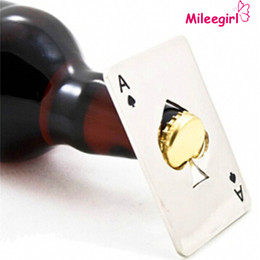 Wholesale Poker Playing Card - Stainless Steel Bottle Opener,Bar Cooking Poker Playing Card of Spades Tools,Mini Wallet Credit Card Openers For Beer