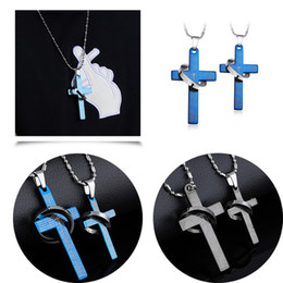 Wholesale Black Costume Jewelry Rings - 1 Pair Blue   Black Bride Groom Wedding Party Stainless Steel Necklace Fashion Cross Ring Pendant Lovers Couples Necklaces Costume Jewelry