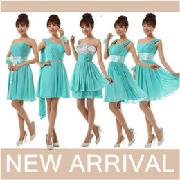 Wholesale Turquoise Brides Maids Dresses - 2017 green brides maids bridesmaid sweet 16 princess short sweetheart neckline sequined turquoise dresses for weddings B1656