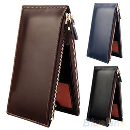 Wholesale Mens Passport Holder - Wholesale- 2016 Mens Fashion Long Faux Leather Zipper Id Credit Card Holder Bifold Wallet 9IHN