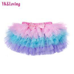 Wholesale Waist Tutu Dress - New Summer Girls Dress Baby Tutu Skirt Lace Mesh Pettiskirt Pink Blue Purple Children Skirts 6 Layers Dress Newborn Clothing YK&Loving TP110