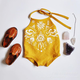 Wholesale Toddler Christmas Tops - Toddler kids rompers baby printed cotton sleeveless suspender halter top jumpsuit 2017 new summer little children cute clothes C0152