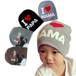 Wholesale Grey Newborn Hat Knitted - Baby Hats Newborn Boys Hats 2017 Cotton Kids Beanie Photography Props Baby Costumes Knitted I LOVE MOM DAD Baby Caps for Boys