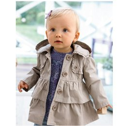 Wholesale Hooded Trench Outerwear - Hooyi Baby Girls Trench Coats Children Clothes Outfits Tench Kids Hooded Girl's Outerwear Jacket Grey Hoodies Jumpers Overcoat 80-120