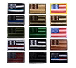 Wholesale Wholesale Applique Fabrics - VIP Price US Flag Tactical military Patches Gold Border American flag Iron on patches Applique Jeans Fabric Sticker Patches for Hat badges