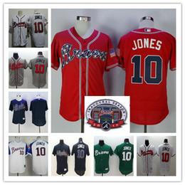 Wholesale Grey Shirt Cool - Cheap Chipper Jones Jersey Red White Blue Alternate Throwback Atlanta Braves Chipper Jones 10 Jerseys Blank Cream Grey Flex Cool Base Shirts