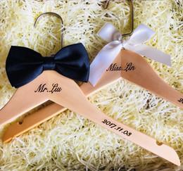Wholesale Custom Wedding Hangers - Free shipping personalized rustic wooden wedding dress bridal hanger Custom hangers