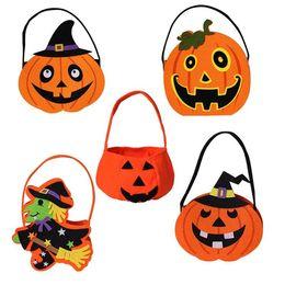 Wholesale Wholesale Gift Pails - Halloween Pumpkin Candy Bag Trick Treat Cute Smile Basket Face Children Gift Handhold Pouch Tote Bag Non-woven Pail Props Decoration wa4236