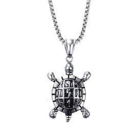 Wholesale Necklace For Health - Fashion Mens Necklaces Stainless Steel Sea Turtle Pendant Necklace for Men Vintage Jewelry Health and Longevity PN-709