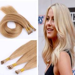 Wholesale Hair Blond Keratin - keratin i tip hair extension 100% virgin brazilian prebonded human hair black,brown,blond i tip hair