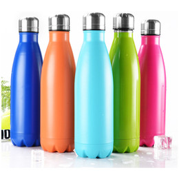 Wholesale Thermal Mug Press - 350ML Stainless Steel Cola Bottle Coke cup Beer Mug Creative Insulation double layer Vacuum Coffee Water sport bottle Cup DHL free shipping