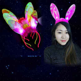 Wholesale Rave Hair - Led Flashing Rabbit Ears Headband Cosplay Flash LED Hair Bands Bow Light Up Prom Dress Up Rave Toy for Halloween Xmas Party Supplies