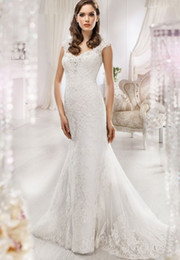 Wholesale Korean Wedding Dress Image - Sweetheart Neck Floor Length Full Lace Appliques Korean Wedding Dress Sheer Neck Covered Buttons Capped Sleeves Wedding Dress With Beads