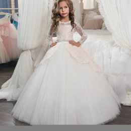 Wholesale Girls Long Sleeve Dresses Sale - 2017 New Arrival Flower Girl Dresses O-neck Long Sleeves Beading Belt Bow Back Button Pageant Gowns For Kids Wedding Hot Sale