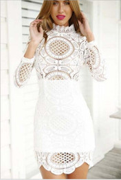 Wholesale Euro Hook - Wholesale- Euro 2016 hollow lace women dress Sexy Club Dress White   Black hook Floral Celebrity bandage hip Long Sleeve Slim vestidos B291