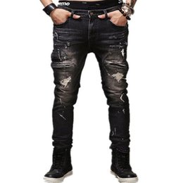 Wholesale Popular Men S Jeans - Men's Personality Popular Clothing Style Hole Patch jeans denim pencil pants Motorcycle men Straight beggar trousers