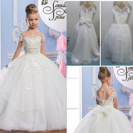 Wholesale Pearl Christmas Balls - 2017 Pearls Lace Sheer Neck Tulle Arabic Flower Girl Dresses Vintage Child Pageant Dresses Beautiful Flower Girl Wedding Dresses