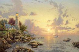 pinturas de limón Rebajas El mar de la tranquilidad Thomas Kinkade pinturas al óleo Wall Art HD moderna impresión en la decoración de la lona sin marco