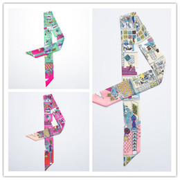 Wholesale Silk Family - Wholesale- MENGLINXI Twilly 2017 Luxury Brand Small Silk Scarf For Women Happy Family Print Headband Handle Bag Ribbon Long Scarves
