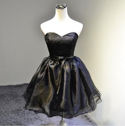 Wholesale Cheap Little Girls Bridesmaid Dresses - Little Black Short Bridesmaid Dresses With Lace Appliques 2017 Delicate Organza Knee-Length Prom Dress Sweet Girls Wedding Party Gown Cheap