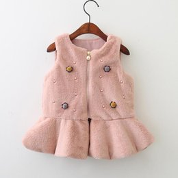 Wholesale Girls Spring Baby Jacket Children - Baby Girls Vests Coat Kids Girls Pearl Fur Waistcoat Infant Girl Warm Jackets Princess Outwear 2017 Autumn Winter Children Clothing B836