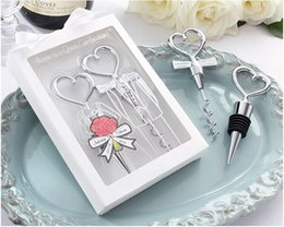 Wholesale Personalized Wedding Set - Bottle stopper kit opener Personalized Cheers to a Great Combination Corkscrew and Stopper Sets Wedding Favors Gifts 100sets lot