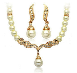 Wholesale Gold Set Jewelry Pearls Dangle - Lady Elegant Pearls Choker and Earrings set Crystals Neckace Ear Dangles Silver Gold Chains Charming Jewelry Gift