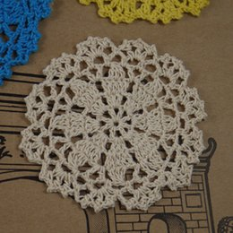 """Wholesale Round Handmade Tablecloth - Wholesale- 10PCS Handmade Crocheted Doilies 4"""" 10cm cup Mat Pad tablecloth coasters Dial Wadding Home Decoration"""