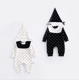 Wholesale Girls Kid Cute Wears - 2 colors INS Baby kids fall long sleeve autumn high quality cotton cute Cartoon beard romper autumn out wear girl boy infant romper+hat