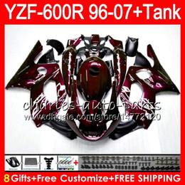 8Gift 23Color Per YAMAHA YZF600R Thundercat 96 97 98 99 00 01 Vino rosso 53HM18 YZF-600R YZF 600R 1996 1997 1998 1999 2000 2001 Kit carenatura cheap yzf thundercat fairing kit da yzf kit di falegnameria del tuono fornitori