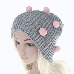 Wholesale Childrens Hats Girls - Babies Crochet Knit Caps Kids Boys and Girls Winter Beanies Childrens Adjustable Balls Hats 2017 Kids Accessories