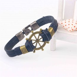 Wholesale Boat Anchor Bracelet - Wholesale-2016 New Fashion Jewelry Men Vintage Boat Compass Charm Cow Leather Bracelet Anchor For Men Party Gift