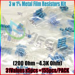 Wholesale Carbon Sample - Wholesale- New! 200R-4.3K ohm 3W 1% DIP METAL film resistor,31valuesX5pcs=155pcs, RESISTORS Assorted Kit, Sample bag