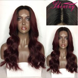 Wholesale 99j Wigs - 1B 99J Ombre Human Hair Wigs With Baby Hair 9A Pre Plucked Full Lace Wigs Black Women Brazilian Virgin Human Lace Front Wigs