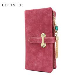 Wholesale Cards Two Folds - Wholesale- 2017 New Fashion Women Wallets Drawstring Nubuck Leather Zipper Wallet Women's Long Design Purse Two Fold More Color Clutch
