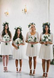 Wholesale Bridesmaid Short Sleeve Design - 2018 New Design Cheap Chiffon Short Bridesmaid Dresses Pleats A Line V neck Half Sleeves Mini Bridesmaid Gowns Maid of Honor Dress