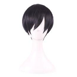 Wholesale Men Lace Wigs - WoodFestival sebastian kuroshitsuji cosplay wig short black wig heat resistant synthetic fiber hair wigs straight men wigs for men aniy 30cm
