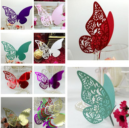 Wholesale Markers Wedding Table - Party Wine Glass Cards Wedding Party Decorations Wine Glass Cup Markers Wedding Table Decor Name Card Laser Cut Hollow Butterfly Cards