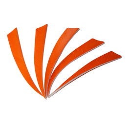 Wholesale Bamboo Arrows - 50pcs 5'' Left Wing Feathers for Glass Fiber Bamboo Wood Archery Arrows Hunting and Shooting Shield Orange Fletching