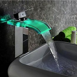 Wholesale Tap Waterfall Spout - Wholesale- Modern LED Color Changing Glass Waterfall Spout Bathroom Basin Faucet Vanity Mixer Tap Chrome