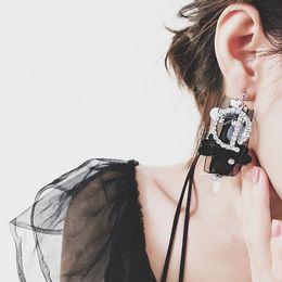Wholesale Lace Earrings - idealway Fashion Luxury Crystal Rhinestone Letter D Lace Charm Flower Drop Stud Earrings 6 Pairs lot