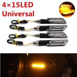 Wholesale tail lamp motorcycle - 4Pcs 15LED Motorcycle Amber Turn Signal Lights Indicator Blinker Brake Tail Lamp