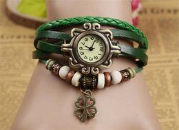 Wholesale Ladies Clover Watch Green - Fashion Women Watch Ladies Bracelet Watch Leather Retro Four Leaf Clover Pendant Wrist Quartz Watches for Women