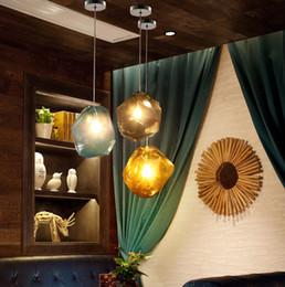 Wholesale Glass Stone Pendant - Modern Colorful Glass Pendant Light Special Glass Stone Chandelier Hanging Lamp for Bar Restaurant Indoor Light